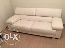 Fabulous Italian white real leather sofa