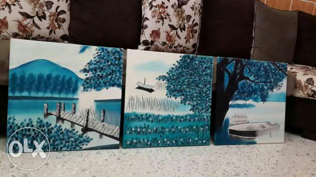 Oil painting 3 pieces and acrylic 3D 1 piece
