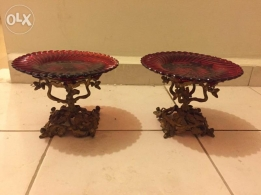 Antique Bohemia red plates on French bronze socles