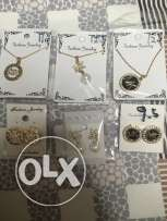 necklace and earings branded