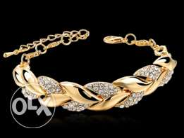 Gold Leaf Bracelets & Bangles With Stones Luxury Crystal Bracelets For