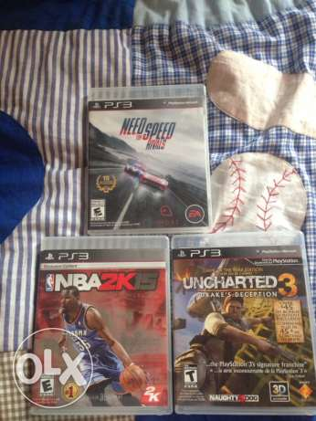 3 ps3 dvd (nba 2k15-uncharted 3-need for speed rivals)