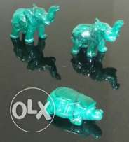 Set of Malachite Carvings (3 pcs) Qt.2 Elephants & Qt.1 Turtle