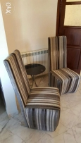 2 chairs with small table