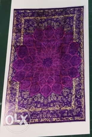 Special design hand woven carpet. Fuscia + Yellow silk on purple wool.