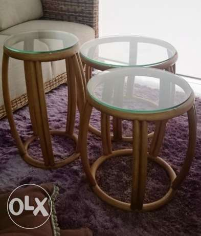 New Bamboo tables set of 3 (zouk Mosbeh)