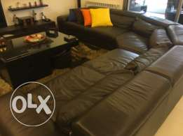 leather black couch for sale!