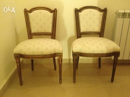 Antique louis XVI gold plated non arm chairs