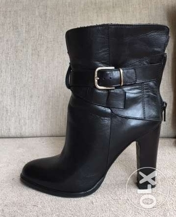 Black leather women boots - size:37 المرفأ -  1