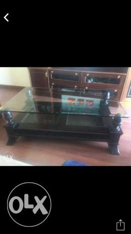wood/glass top table