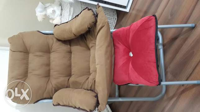 Camel armchair with bouff