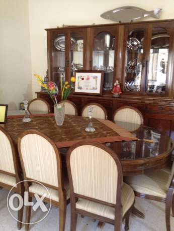 dining room table + tall unit + 10 chairs