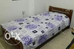 Single bed with matelasse for sale 250$ for interested people contact