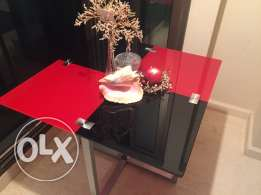 red and black opaque glass table