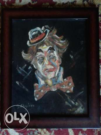 sad clown painting 40*30 cm