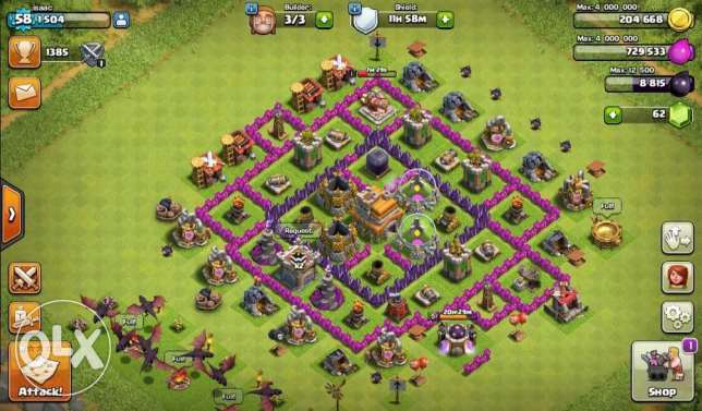 clash of clan th7+th8 sale or trade on ps4 games شويفات -  2