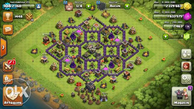 Clash of clans town hall 9 with leader clan lvl 6 for 100$ بعلبك -  1