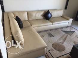 sofa leather L shape 3x2 m