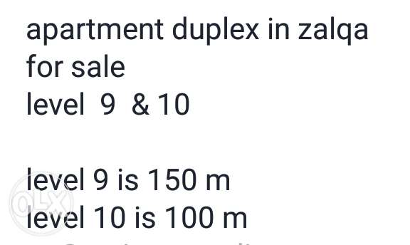 apartment in zalqa duplex level 9 & 10 & (250mt)