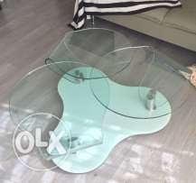 Glass table with chrome