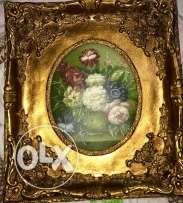 vintage gold oval inset wooden frame with floral print