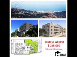 Apartments for sale in Bikfaya 145 sqm + 40 sqm terrace