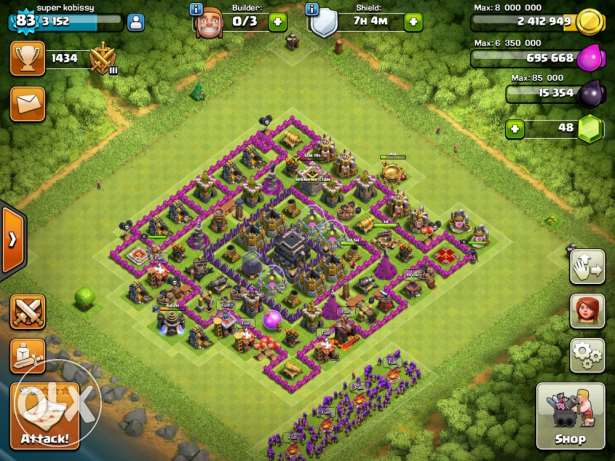 clash of clans town hall 9 base in 300$ الشياح -  1