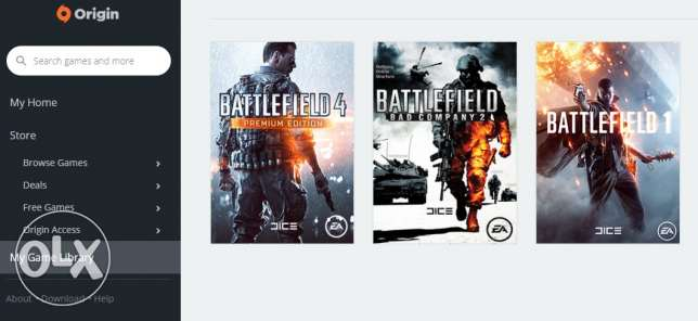 Origin (PC): (Battlefield 1, Battlefield Bad Company 2, Battlefiel 4)