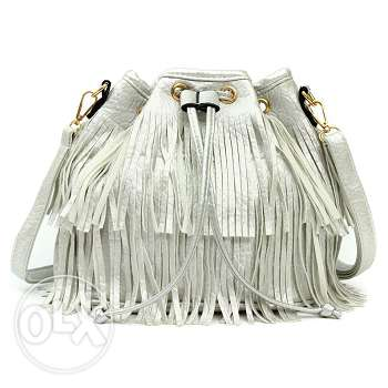 Silver leather tassel handbag (Free delivery)