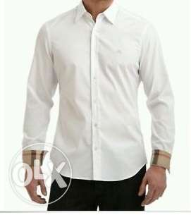 Burberry Classic White Men Long Sleeves Shirt المتن -  2