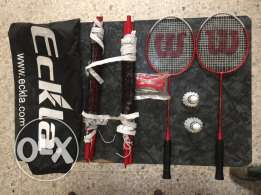2 Wilson Racquets with 2 feathers, original net and bag