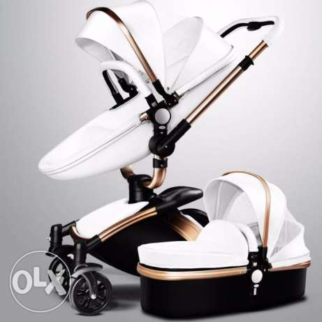Baby-stroller-3-in-1-leather-Carriage-Infant-Travel-Car-Foldable-Pram برج ابي حيدر -  2