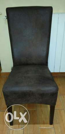 6 chairs alkantra brown for sale 600$