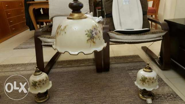 Set 3 pieces chandelier and lampadaire hand painted