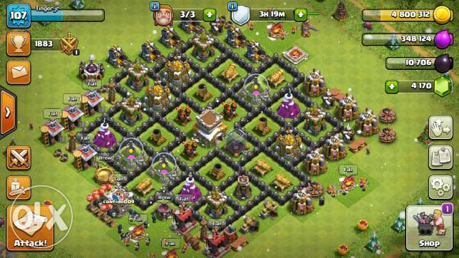 Clash of clans lvl 107 th8 max