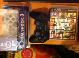 2 ps3 controller + gta5 for sale