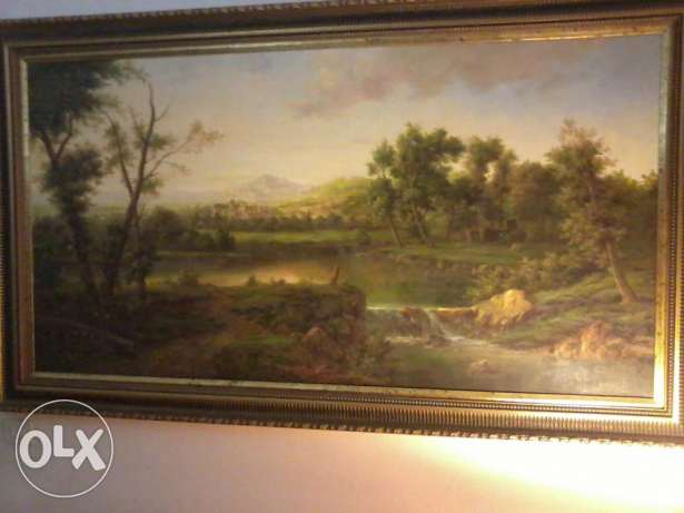 Big oil painting Frame, signe Chabaz, 40 years old, 2x1 m., dore, 3500