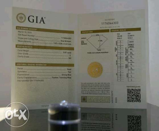 GIA certified loose diamond 0.87 cts