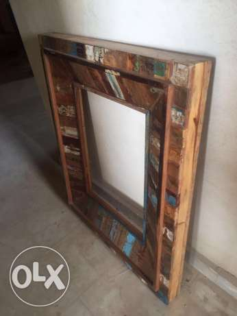 Antique solid wood mirror