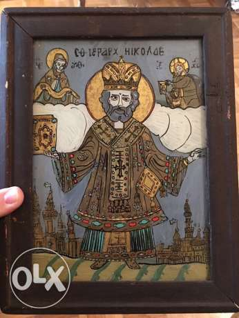 Rare antique (over 200 years old) Russian icon, on glass, vitrail