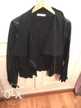 elegant leather like black jacket for women size L only worn once Hamra -  1