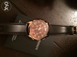 Fancy Genuine Armani brown & rose gold leather watch for him