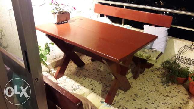Wood Table with 2 Benches