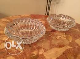2 crystal ashtrays signed from Villeroy $ Boch