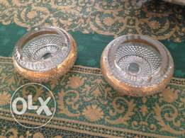 2 ashtrays crystal antique gold plated ٢ منافض انتيك ذهبي