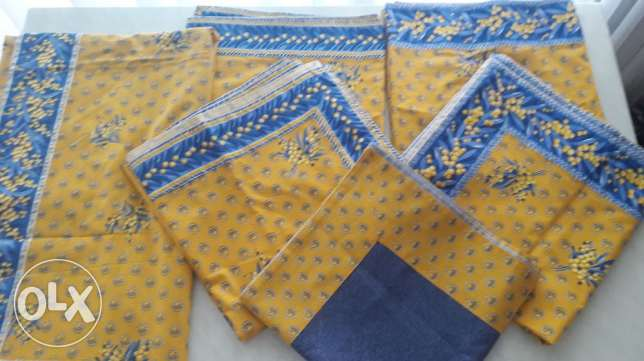 Tablecloth Set 6 pieces for indoors and outdoors in cotton. New!