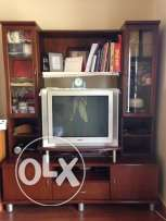 Wood tv stand with tv