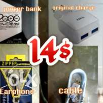 Original charge plus cabl and powe bank and Earphone