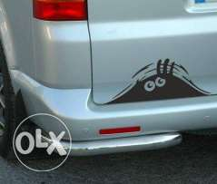 peeking car sticker