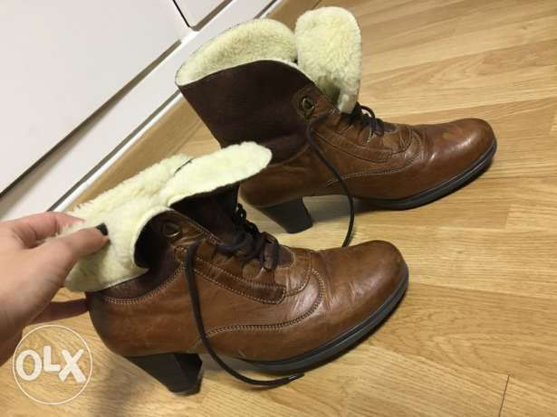 Woman Camel 100% original leather boots
